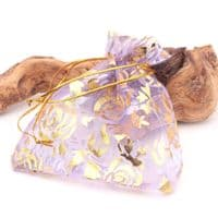 Organza Gift Bag, flowery patterned design Lavender and Gold